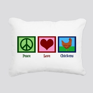 Peace Love Chickens Rectangular Canvas Pillow