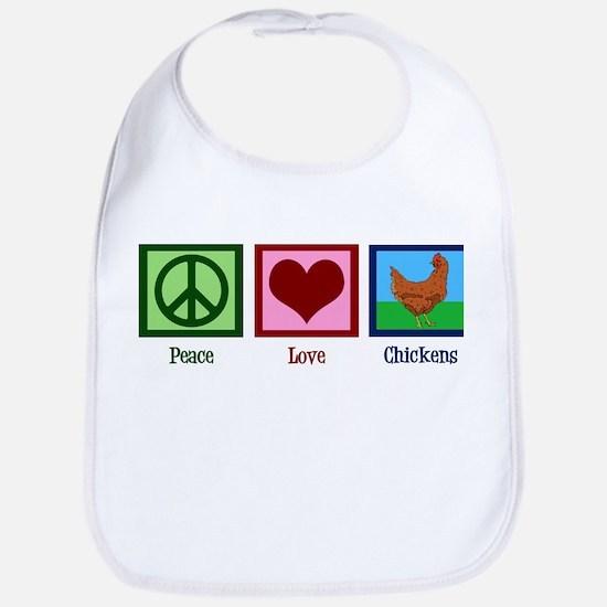 Peace Love Chickens Bib