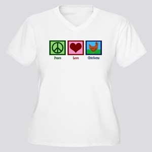 Peace Love Chickens Women's Plus Size V-Neck T-Shi