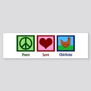 Peace Love Chickens Sticker (Bumper)