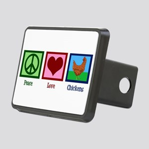 Peace Love Chickens Rectangular Hitch Cover