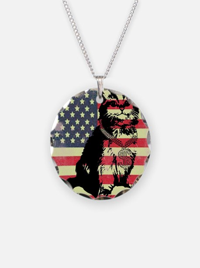 Americat Necklace Circle Charm