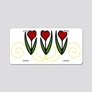 Red Tulips Aluminum License Plate