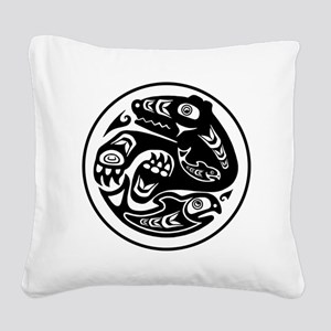 Native American Bear and Fish Square Canvas Pillow