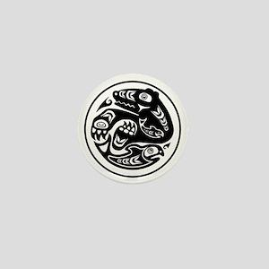 Native American Bear and Fish Mini Button