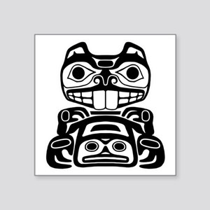 """Native American Beaver Square Sticker 3"""" x 3"""""""