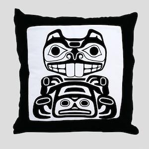 Native American Beaver Throw Pillow