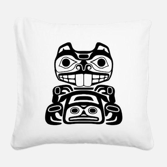 Native American Beaver Square Canvas Pillow