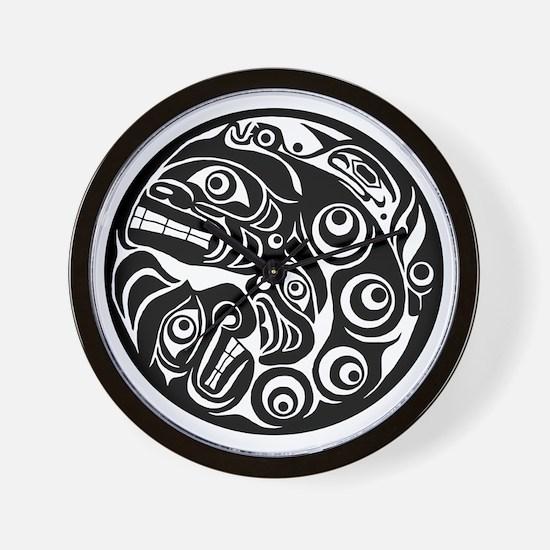 Native American Circle of Faces Wall Clock