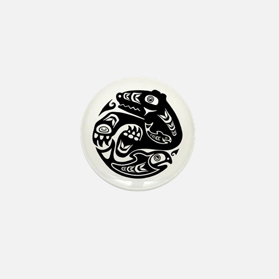 Native American Bear and Fish Mini Button