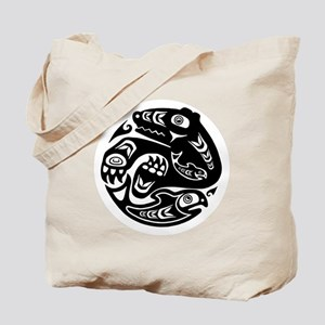 Native American Bear and Fish Tote Bag