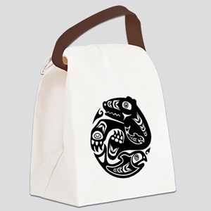 Native American Bear and Fish Canvas Lunch Bag