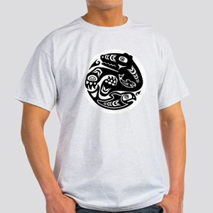Native American Bear and Fish Light T-Shirt