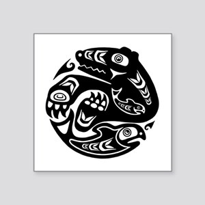 "Native American Bear and Fi Square Sticker 3"" x 3"""