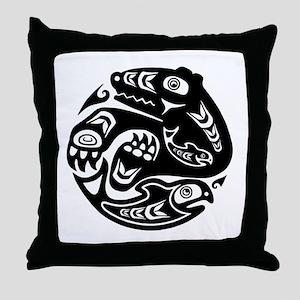 Native American Bear and Fish Throw Pillow