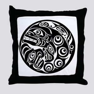 Native American Circle of Faces Throw Pillow