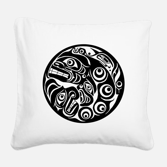 Native American Circle of Fac Square Canvas Pillow