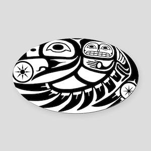 Native American Raven Sun Oval Car Magnet