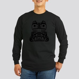 Native American Beaver Long Sleeve Dark T-Shirt