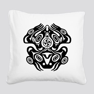 Native American Frog Square Canvas Pillow