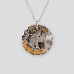Old Barn Necklace Circle Charm