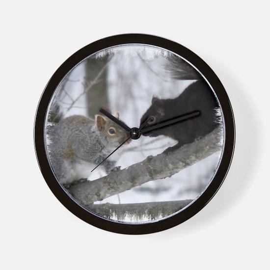 Black Gray Squirrel Wall Clock