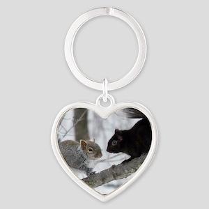 Black Gray Squirrel Heart Keychain