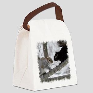 Black Gray Squirrel Canvas Lunch Bag