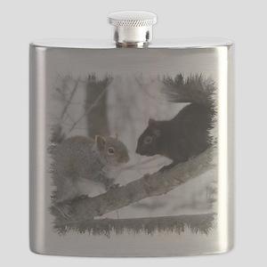 Black Gray Squirrel Flask
