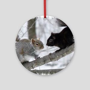 Black Gray Squirrel Round Ornament