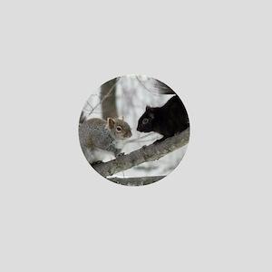 Black Gray Squirrel Mini Button