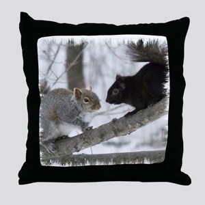 Black Gray Squirrel Throw Pillow