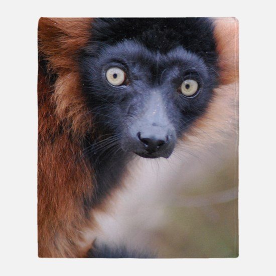 Red Ruffed Lemur Wall Decal Throw Blanket