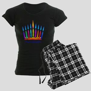NEON Hanukkah Menorah Beddin Women's Dark Pajamas