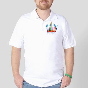 NEON Hanukkah Menorah Bedding Golf Shirt