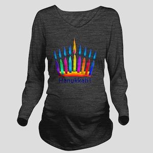 NEON Hanukkah Menora Long Sleeve Maternity T-Shirt