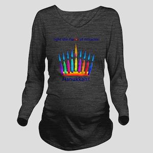 Womens NEON Hanukkah Long Sleeve Maternity T-Shirt