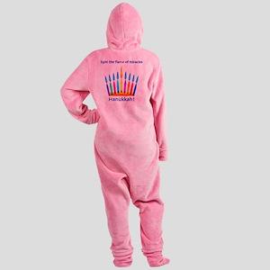 Womens NEON Hanukkah Menorah Flame Footed Pajamas