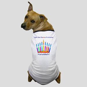 Womens NEON Hanukkah Menorah Flame Dog T-Shirt