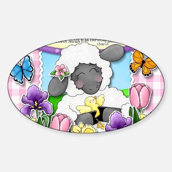 Cuddly Sweet Sheep Sticker (Oval)