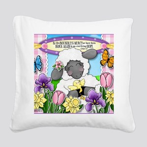 Cuddly Sweet Sheep Square Canvas Pillow