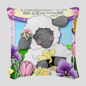 Cuddly Sweet Sheep Woven Throw Pillow