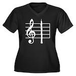 Oboe Lover's Women's Plus Size V-Neck Dark T-Shirt