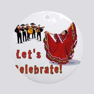Mariachis and Mexican Dancer Round Ornament
