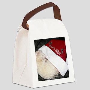 Santas Fuzzy Helper Canvas Lunch Bag