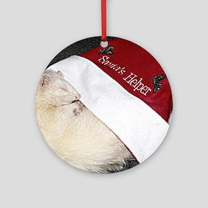 Santas Fuzzy Helper Round Ornament