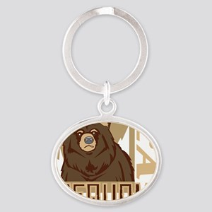 Sequoia Grumpy Grizzly Oval Keychain