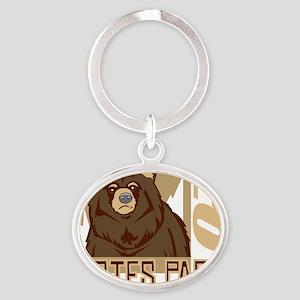 Estes Park Grumpy Grizzly Oval Keychain