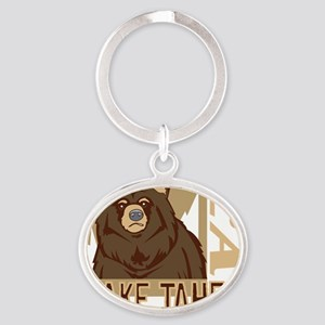 Lake Tahoe Grumpy Grizzly Oval Keychain