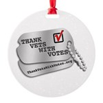 Thank Vets With Votes Round Ornament